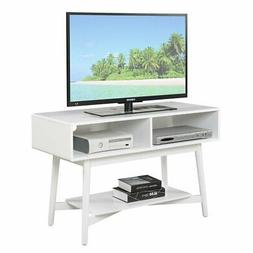 Convenience Concepts Savannah Mid Century TV Stand in White