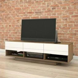 Nexera Sequence 60 TV Stand Walnut & White