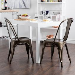 Belleze© Set of  Metal Chairs Side Dining Steel High Ba