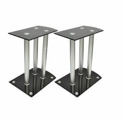 vidaXL 2x Aluminum Speaker Stands Black Glass Studio Audio M