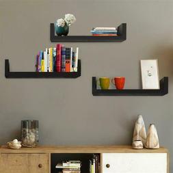Set of 3 Floating Display Shelves Ledge Bookshelf Wall Mount