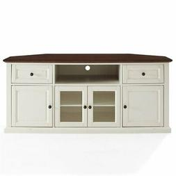"Crosley Furniture Shelby 60"" Corner TV Stand in White and Ma"