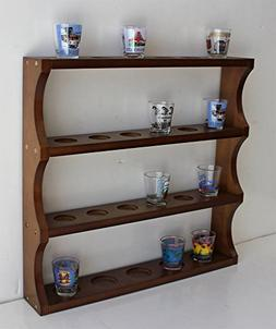 Shot Glass Display Rack Curio Wall Shelf  SC05-Waln