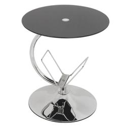 AVF Side Table with Magazine Rack in Black Glass and Chrome