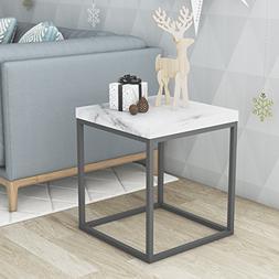 Roomfitters Side End Table Marble Print Top Metal Frame Indu