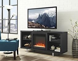 New 58 Inch Simple Modern Fireplace Television Stand in Blac