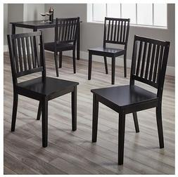 Slat Black Rubber wood Dining Chairs set of 4 Contemporary F