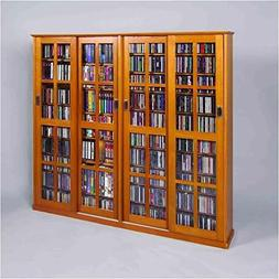 Sliding Door Inlaid Glass Mission Style Multimedia Cabinet