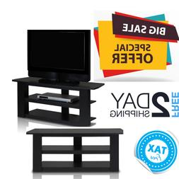 Small Tv Stand With Shelves For Flat Screen Media Storage Ta