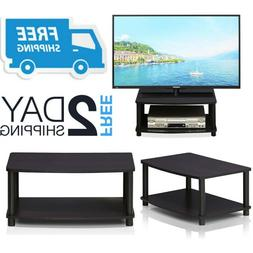 Small Tv Stand With Shelves Media Storage Table For Flat Scr