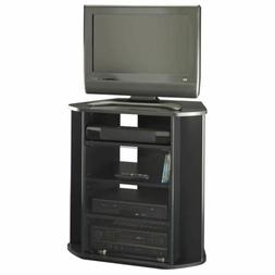 Solid Black Tall Corner TV Stand Entertainment Media Cabinet
