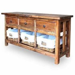 vidaXL Solid Reclaimed Wood Sideboard w/ Rattan Baskets TV S