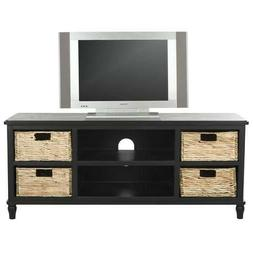 Solid Wood Black Pine Entertainment Center Tv Stand Wicker B