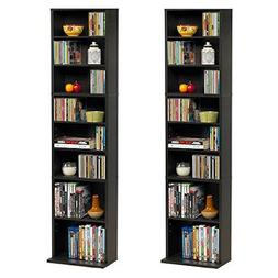Summit Media Storage Shelf Cabinet, Espresso -Two Cabinet