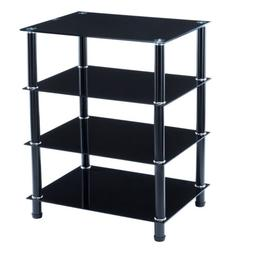 SUNCOO TV Mount Stand Shelves Storage Console Table Glass Me