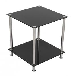 AVF T52-A Black Glass & Chrome Two Tier Square Side Table/La