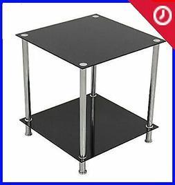 AVF T52-A Black Glass & Chrome Two,Tier Square Side Table/La