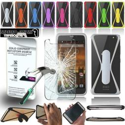 Tempered Glass Screen Protector + silicone bumper Stand Case