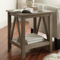 Linon Titian End Table Rustic Gray