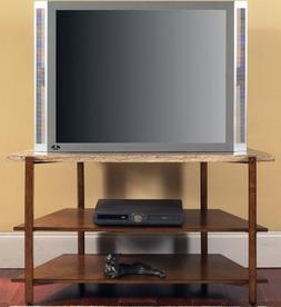 Tivoli Modern Cherry Corner Flat Screen TV Stand with Marble