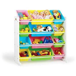 Tot Tutors Kids Toy Storage Organizer with 12 Plastic Bins,