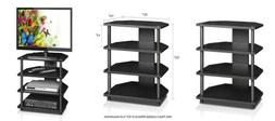 Turn N Tube Easy Assembly 4 Tier PETITE TV Stand 15093BW/ Bl