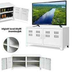 TV Cabinet White Entertainment Center Metal TV Stand Storage