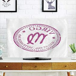 iPrint LCD TV Cover Multi Style,Virgo,Pink Colored Horoscope