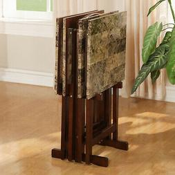 TV Dinner Tray Set Of 4 Faux Marble With Stand Wood Folding