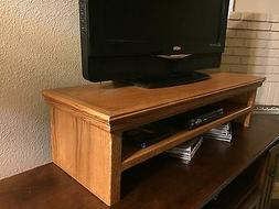 TV LCD LED Traditional Oak Riser Stand Double Tier Medium Fi