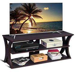 Tangkula TV Stand 3-Tire Universal TV Stand Storage Console
