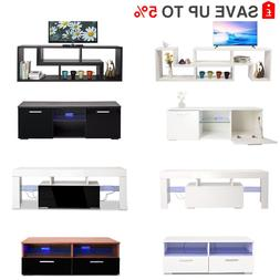 TV Stand Cabinet LED Light Matt Top High Gloss Door Drawers