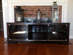 TV Stand Console Credenza Media Center Home Theater Glass Do