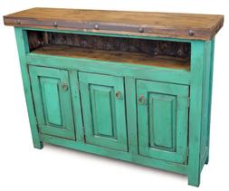 Handmade TV Stand Console Distressed Green Wood Vintage Mexi