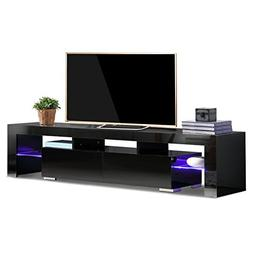 TV Stand Elegant Black High Gloss LED Light Glass Shelves TV
