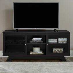 TV Stand Entertainment Adjustable Shelves Glass Doors Home O
