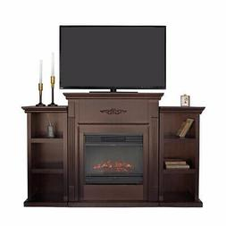 TV Stand Espresso Entertainment with Fireplace Open Shelves