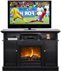 tv stand fireplace fake log flame electric
