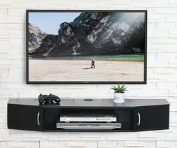 TV Stand Floating Shelf Black Wall Mounted Storage Cabinet C