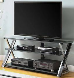 "TV Stand for 65"" Flat Panel TVs Tempered Glass Component She"