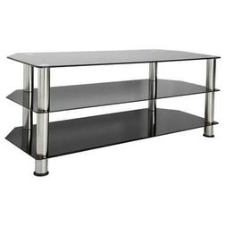 TV Stand for up to 55-inch TVs Tempered Glass and Chrome Ent