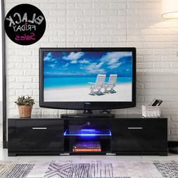 TV Stand High Gloss Black Unit Cabinet with LED Light Shelve