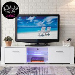 TV Stand High Gloss White Unit Cabinet with LED Light Shelve