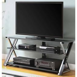 "TV Stand 65"" Home Entertainment Center Black 3 Glass Shelves"