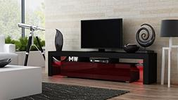 TV Stand MILANO 200 Black Body / Modern LED TV Cabinet / Liv