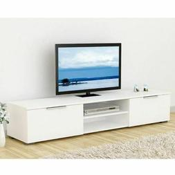 TV Stand Modern High Gloss White Unit Cabinet 2 Drawers Cons