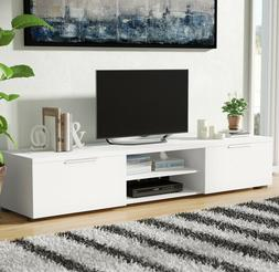 TV Stand White Gloss Large Max 80 In Screen Storage Console