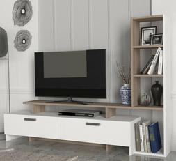 TV Stand White Wood Storage Cabinet Bookcase 55 Inch Enterta