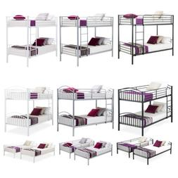 Twin over Twin Metal Bunk Beds Frame Ladder for Kids Adult C