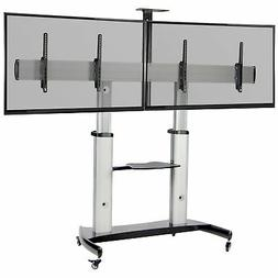 VIVO Ultra Heavy Duty Mobile Rolling TV Stand | Adjustable D